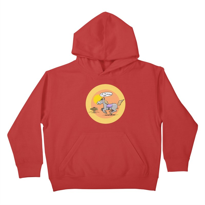 Horse with  no name is singing in the Desert Kids Pullover Hoody by Illustrated Madness