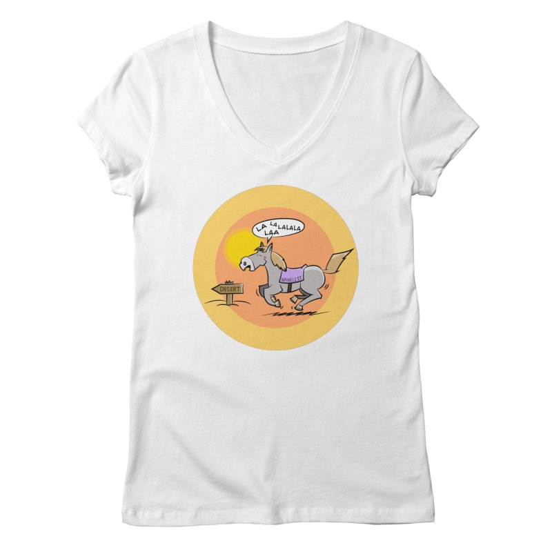 Horse with  no name is singing in the Desert Women's V-Neck by Illustrated Madness