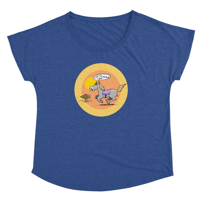 Horse with  no name is singing in the Desert Women's Dolman Scoop Neck by Illustrated Madness