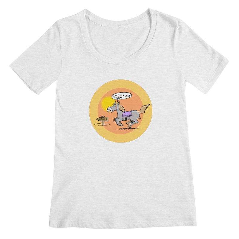 Horse with  no name is singing in the Desert Women's Regular Scoop Neck by Illustrated Madness