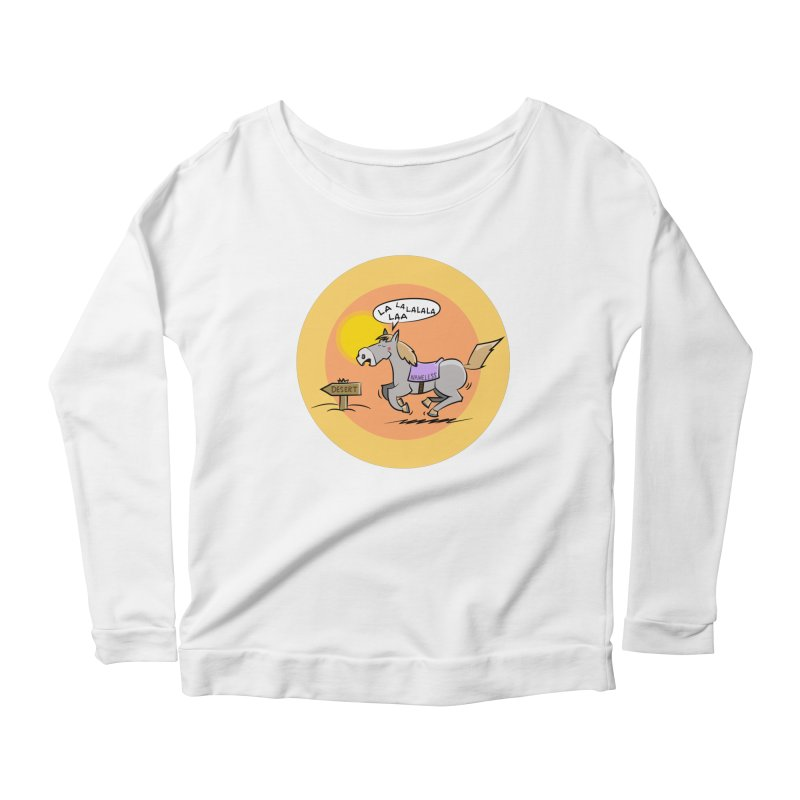 Horse with  no name is singing in the Desert Women's Scoop Neck Longsleeve T-Shirt by Illustrated Madness