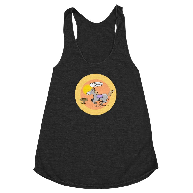 Horse with  no name is singing in the Desert Women's Racerback Triblend Tank by Illustrated Madness