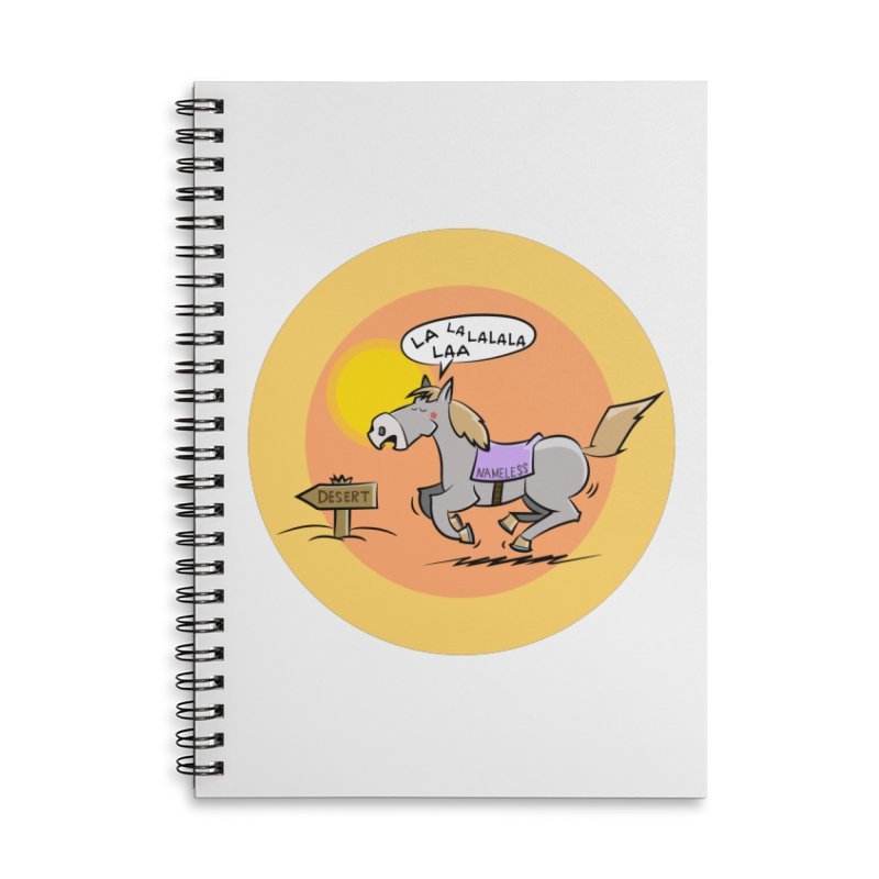 Horse with  no name is singing in the Desert Accessories Lined Spiral Notebook by Illustrated Madness