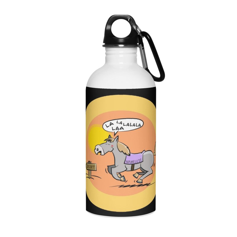 Horse with  no name is singing in the Desert Accessories Water Bottle by Illustrated Madness