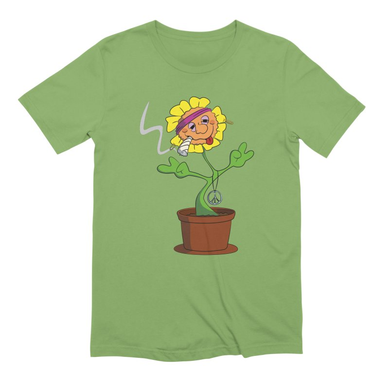 Weed Power to the Hippie Flower in Men's Extra Soft T-Shirt Avocado by Illustrated Madness