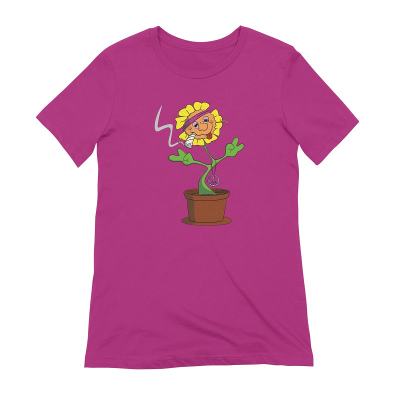 Weed Power to the Hippie Flower Women's Extra Soft T-Shirt by Illustrated Madness