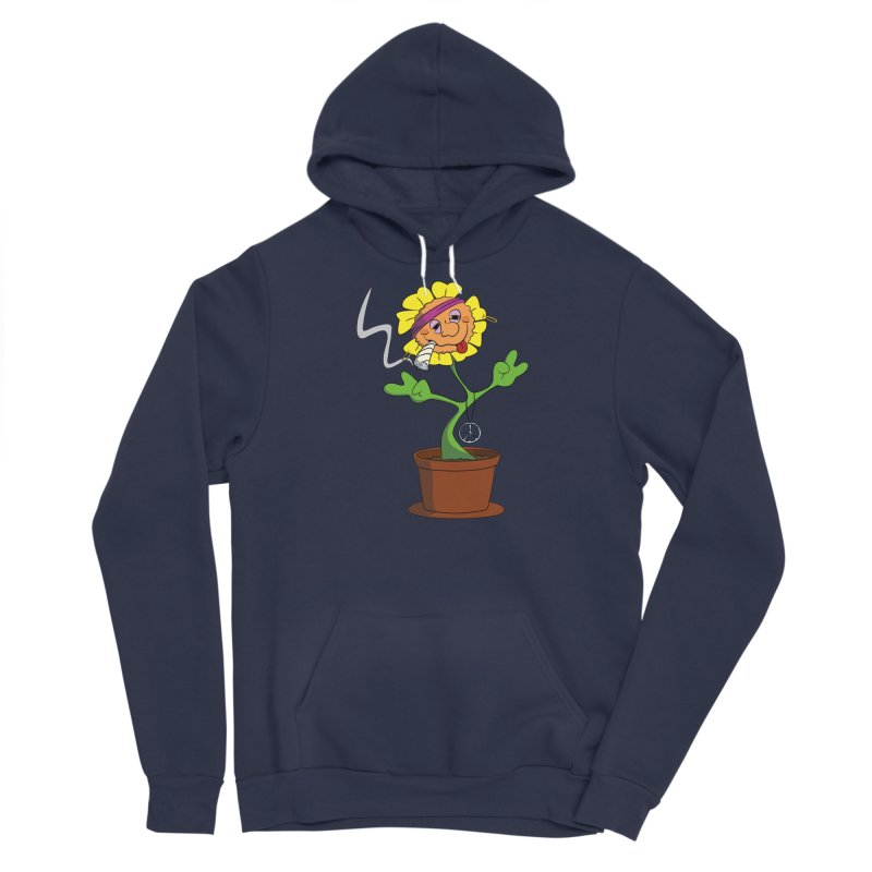 Weed Power to the Hippie Flower Men's Sponge Fleece Pullover Hoody by Illustrated Madness