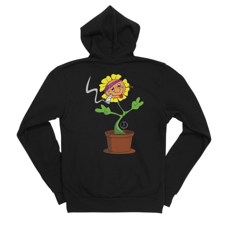 Weed Power to the Hippie Flower Men's Sponge Fleece Zip-Up Hoody by Illustrated Madness