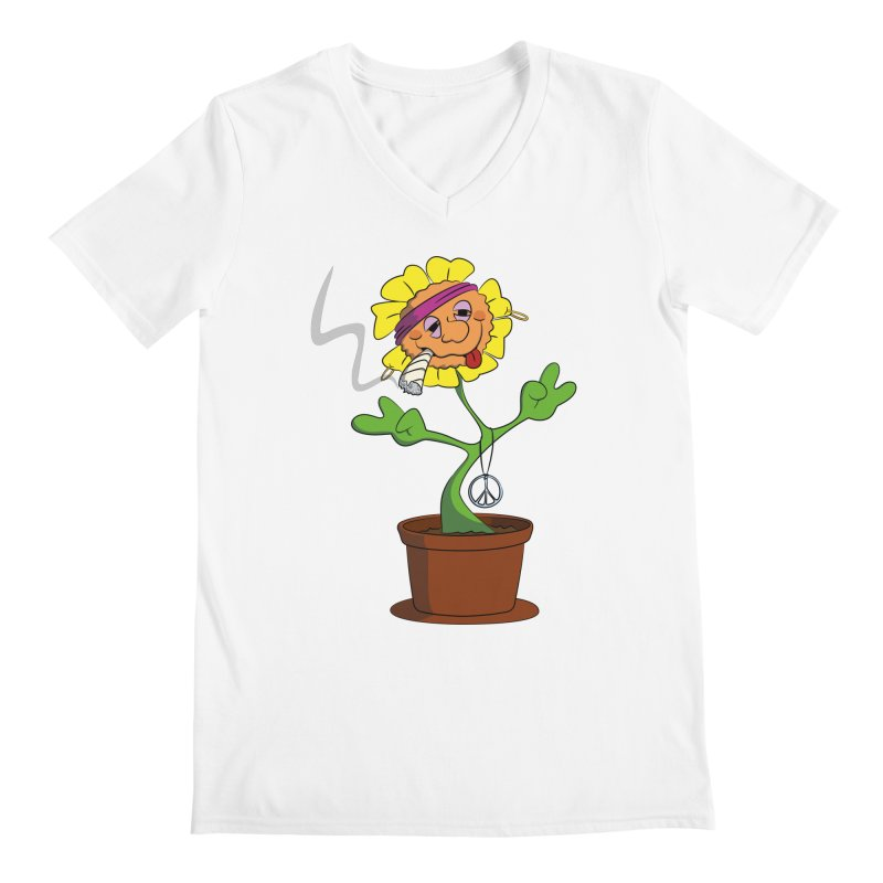 Weed Power to the Hippie Flower Men's V-Neck by Illustrated Madness