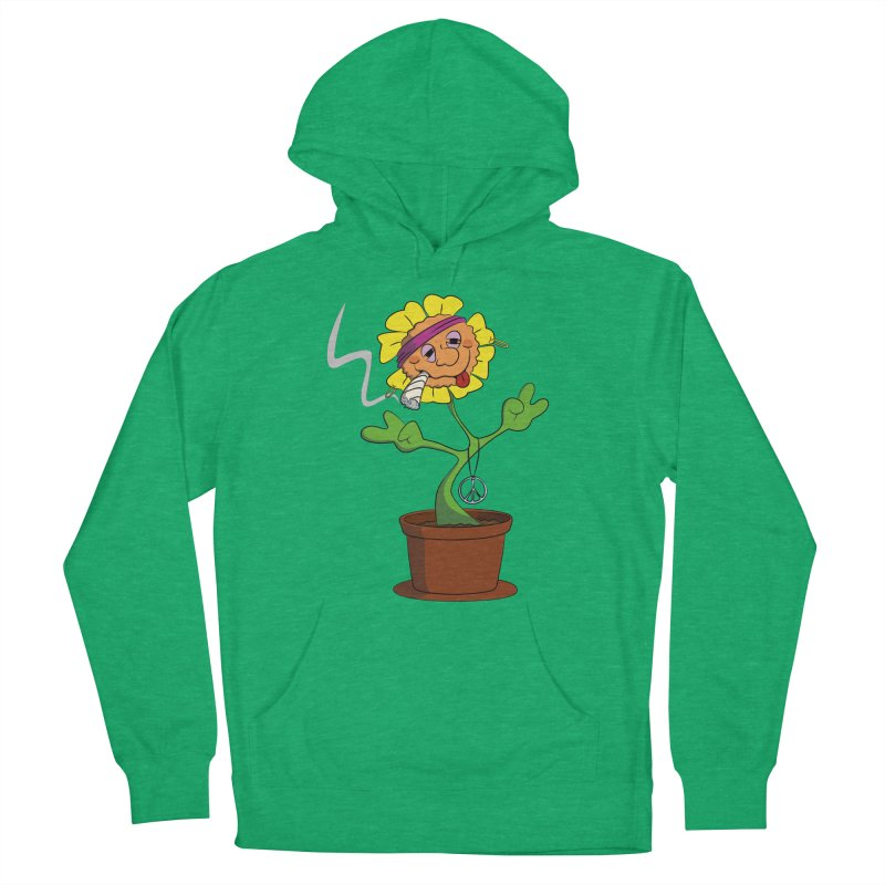Weed Power to the Hippie Flower Men's French Terry Pullover Hoody by Illustrated Madness