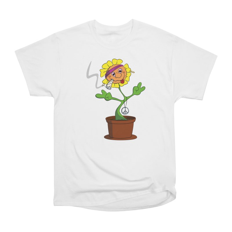 Weed Power to the Hippie Flower Men's Heavyweight T-Shirt by Illustrated Madness