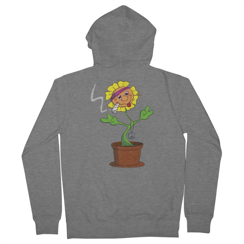 Weed Power to the Hippie Flower Women's French Terry Zip-Up Hoody by Illustrated Madness