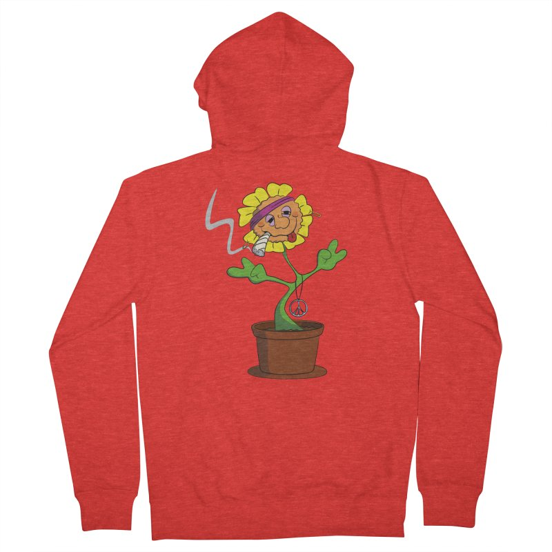 Weed Power to the Hippie Flower Men's Zip-Up Hoody by Illustrated Madness