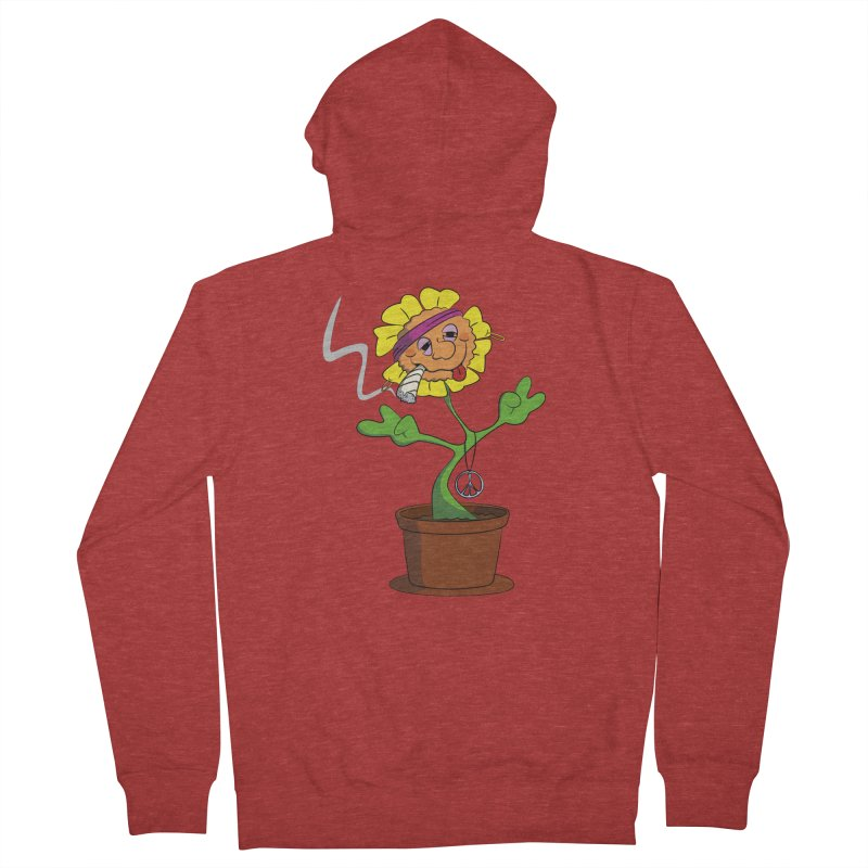Weed Power to the Hippie Flower Men's French Terry Zip-Up Hoody by Illustrated Madness