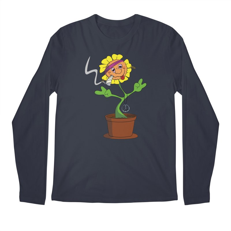 Weed Power to the Hippie Flower Men's Regular Longsleeve T-Shirt by Illustrated Madness