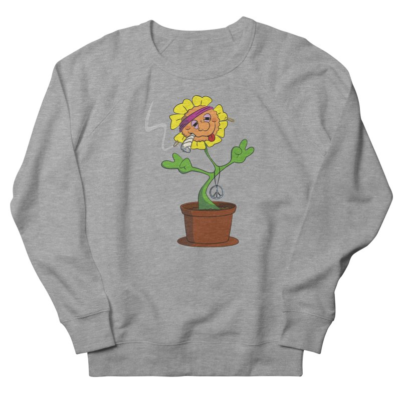 Weed Power to the Hippie Flower Women's French Terry Sweatshirt by Illustrated Madness