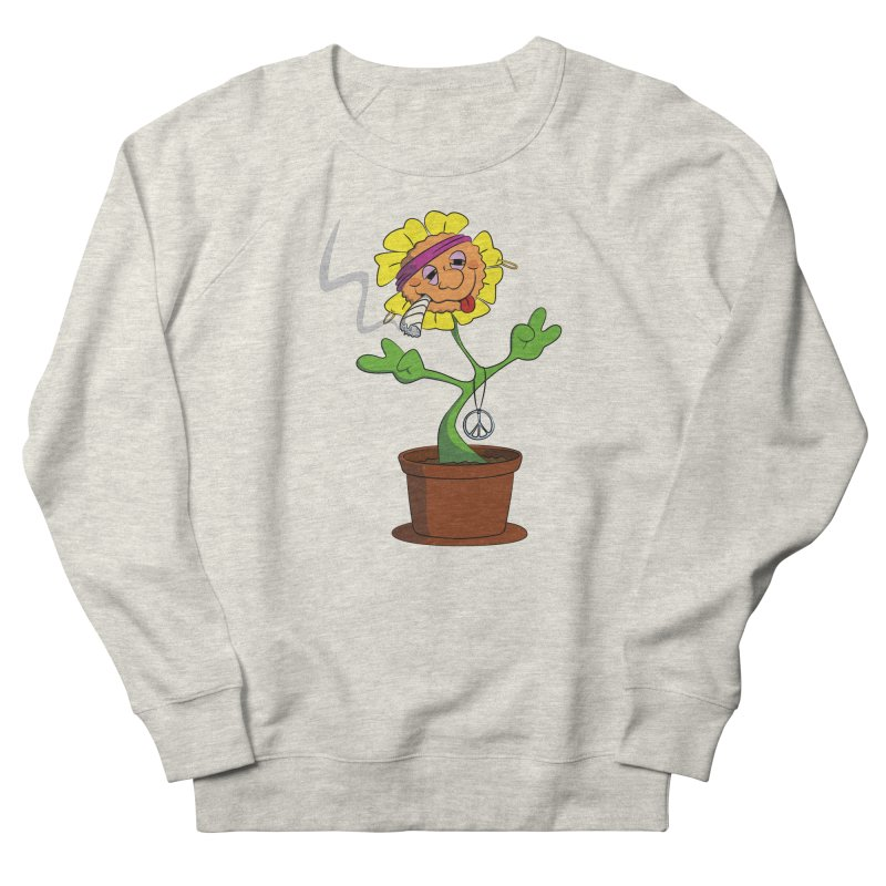 Weed Power to the Hippie Flower Men's French Terry Sweatshirt by Illustrated Madness