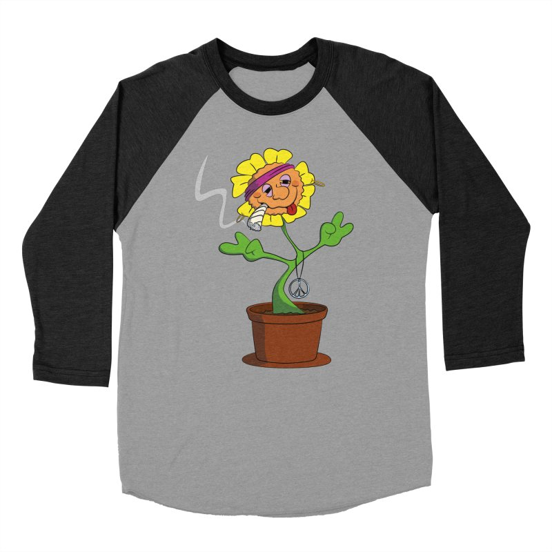 Weed Power to the Hippie Flower Women's Baseball Triblend Longsleeve T-Shirt by Illustrated Madness