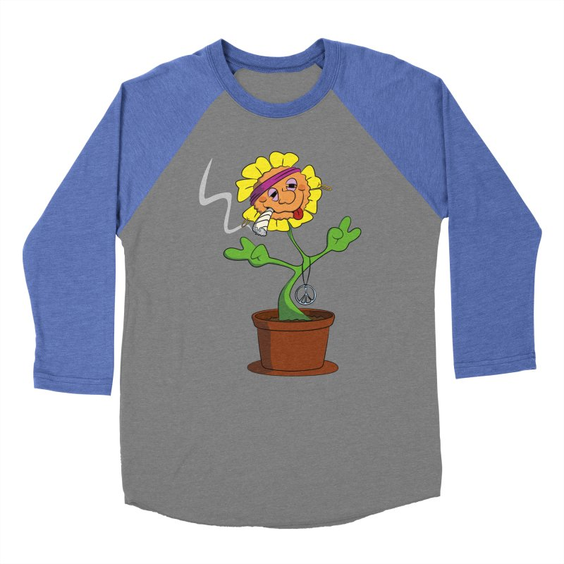 Weed Power to the Hippie Flower Men's Baseball Triblend Longsleeve T-Shirt by Illustrated Madness
