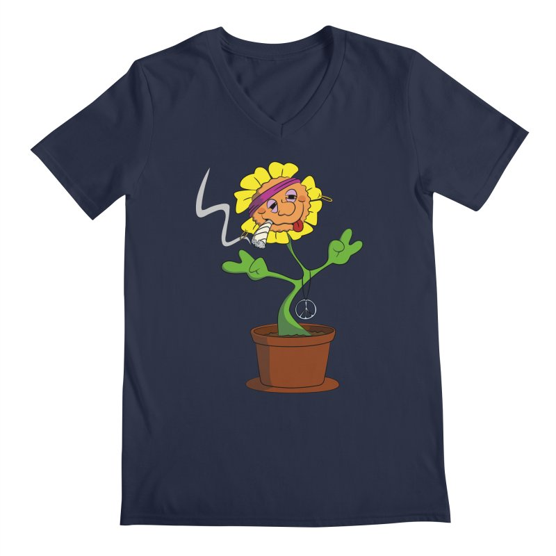 Weed Power to the Hippie Flower Men's Regular V-Neck by Illustrated Madness