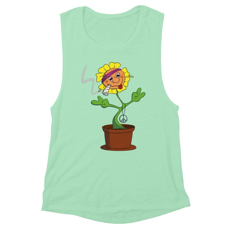 Weed Power to the Hippie Flower Women's Muscle Tank by Illustrated Madness