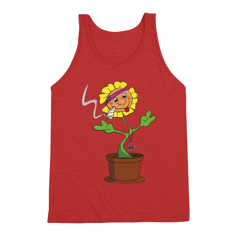 Weed Power to the Hippie Flower Men's Triblend Tank by Illustrated Madness