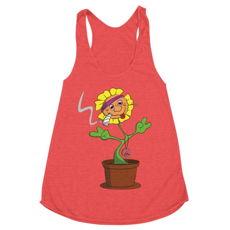 Weed Power to the Hippie Flower Women's Racerback Triblend Tank by Illustrated Madness