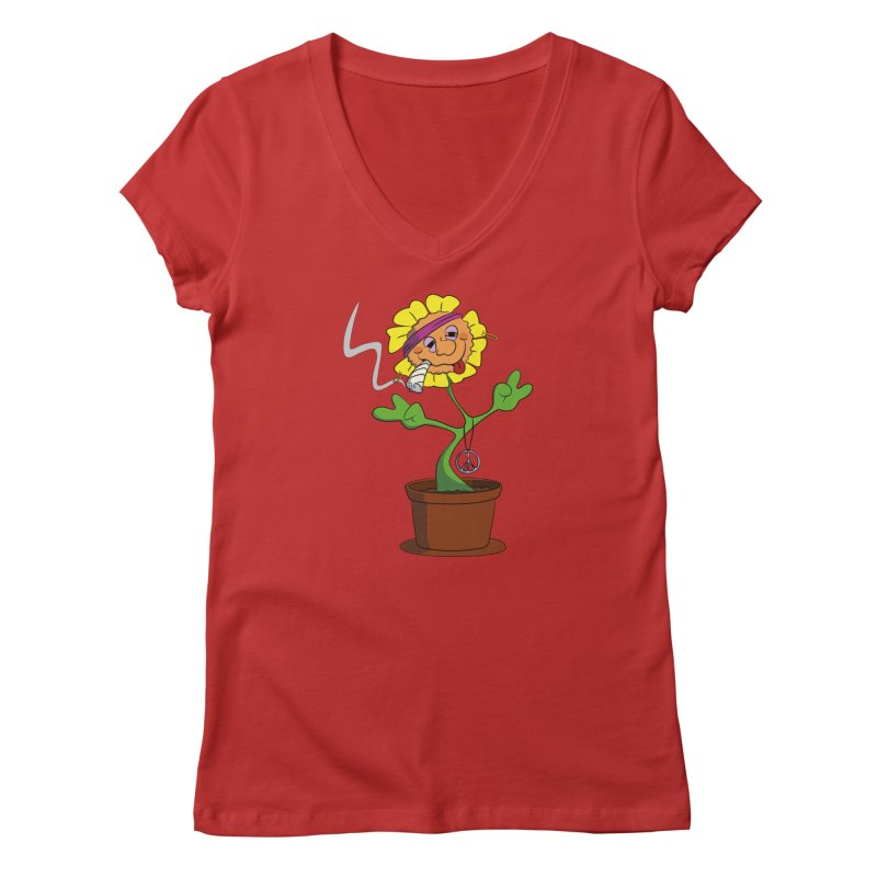 Weed Power to the Hippie Flower Women's V-Neck by Illustrated Madness