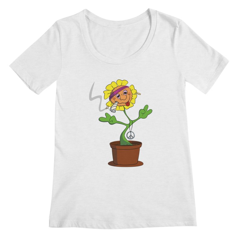 Weed Power to the Hippie Flower Women's Regular Scoop Neck by Illustrated Madness