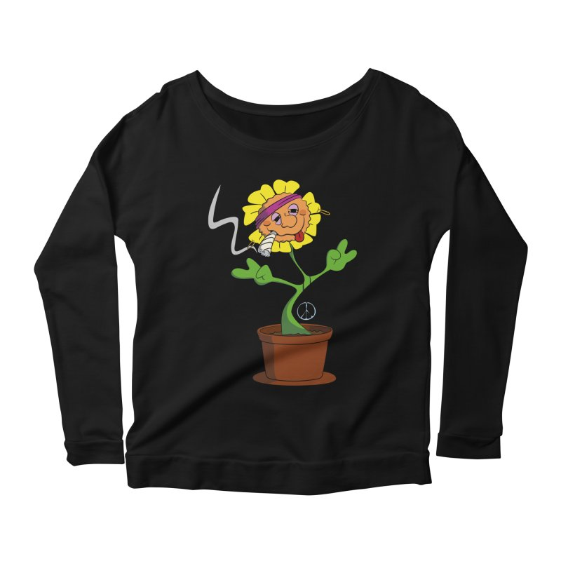 Weed Power to the Hippie Flower Women's Scoop Neck Longsleeve T-Shirt by Illustrated Madness