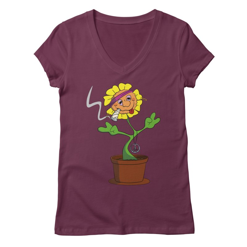 Weed Power to the Hippie Flower Women's Regular V-Neck by Illustrated Madness