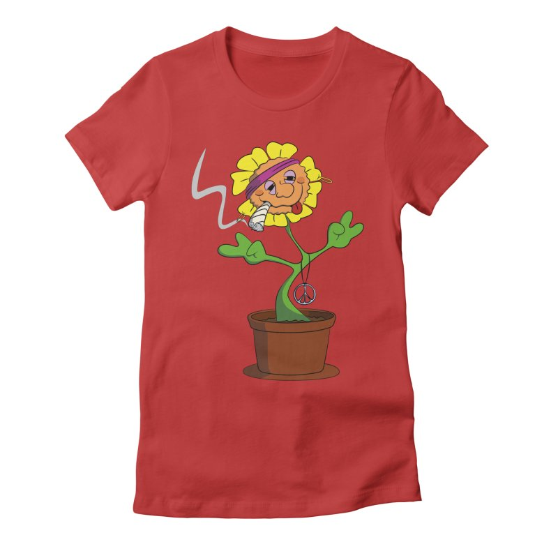 Weed Power to the Hippie Flower Women's Fitted T-Shirt by Illustrated Madness