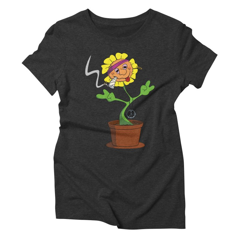 Weed Power to the Hippie Flower Women's Triblend T-Shirt by Illustrated Madness