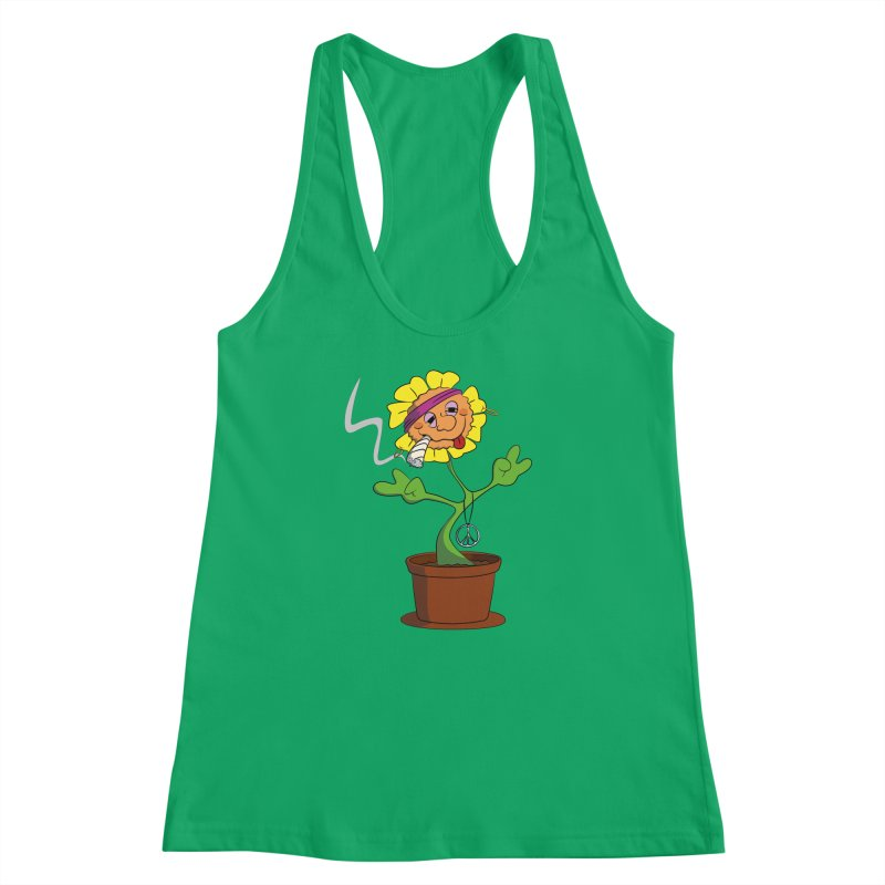 Weed Power to the Hippie Flower Women's Racerback Tank by Illustrated Madness