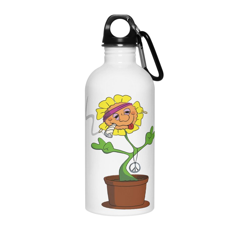 Weed Power to the Hippie Flower Accessories Water Bottle by Illustrated Madness