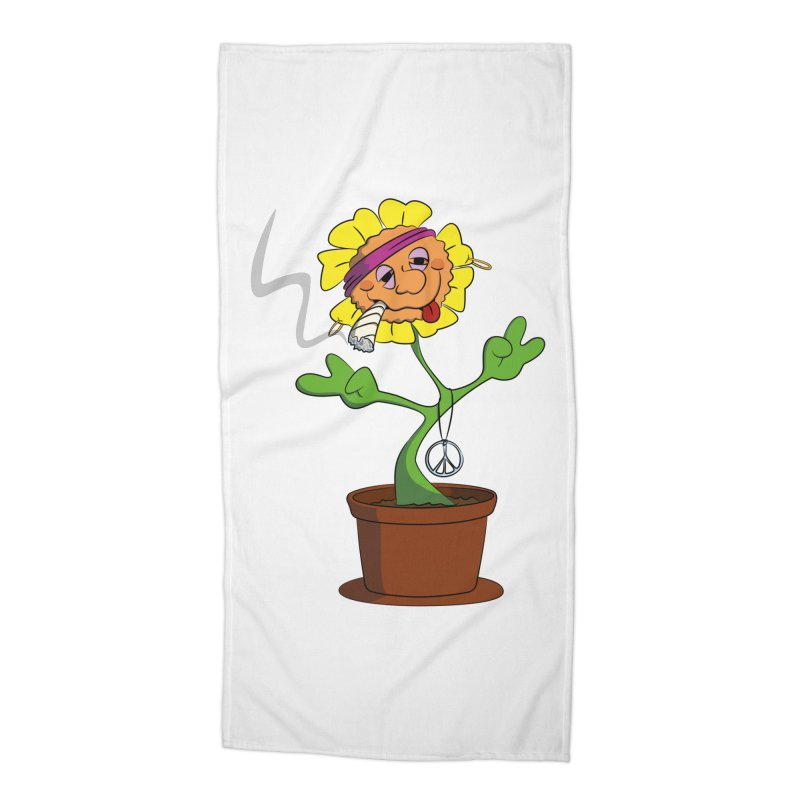 Weed Power to the Hippie Flower Accessories Beach Towel by Illustrated Madness