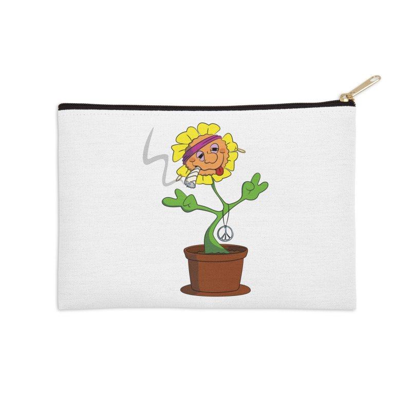 Weed Power to the Hippie Flower Accessories Zip Pouch by Illustrated Madness