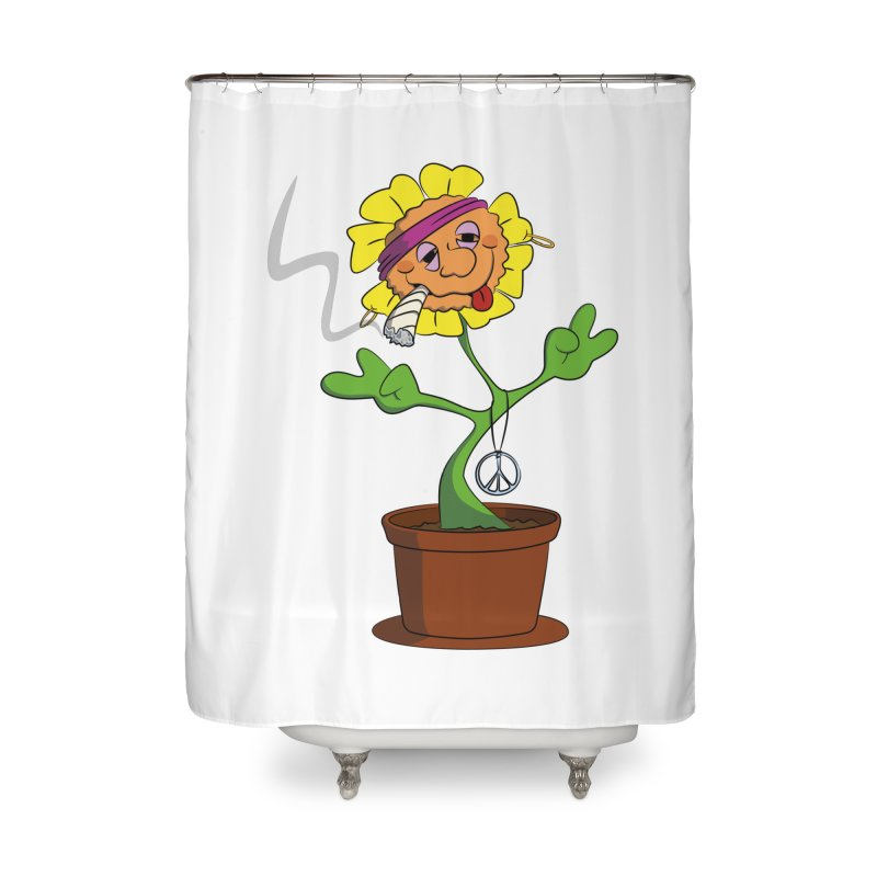 Weed Power to the Hippie Flower Home Shower Curtain by Illustrated Madness