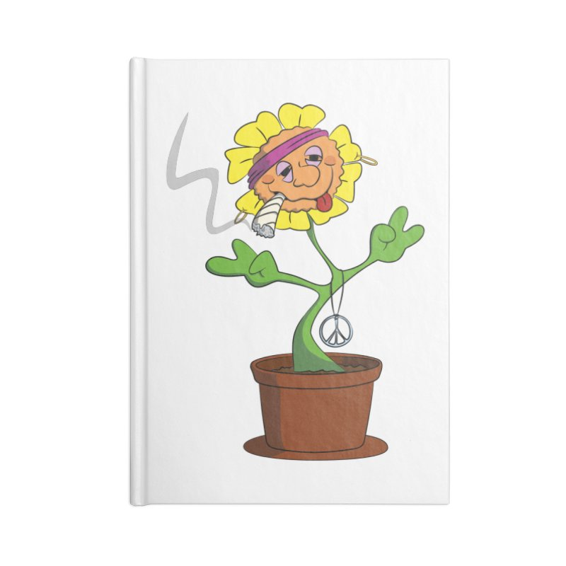 Weed Power to the Hippie Flower Accessories Lined Journal Notebook by Illustrated Madness