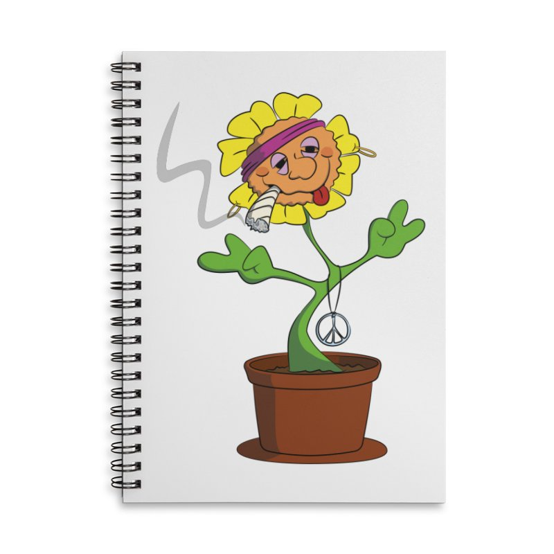 Weed Power to the Hippie Flower Accessories Lined Spiral Notebook by Illustrated Madness