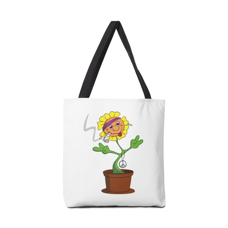 Weed Power to the Hippie Flower Accessories Tote Bag Bag by Illustrated Madness