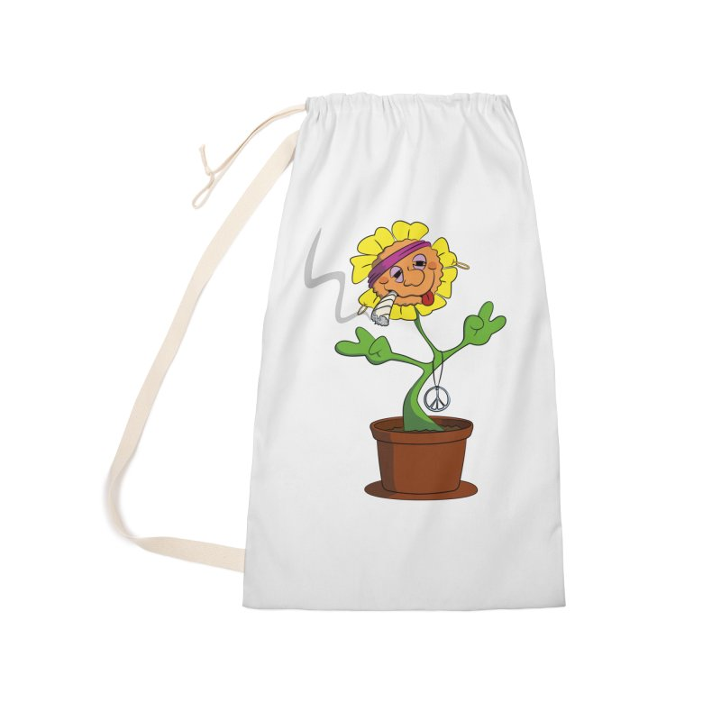 Weed Power to the Hippie Flower Accessories Laundry Bag Bag by Illustrated Madness