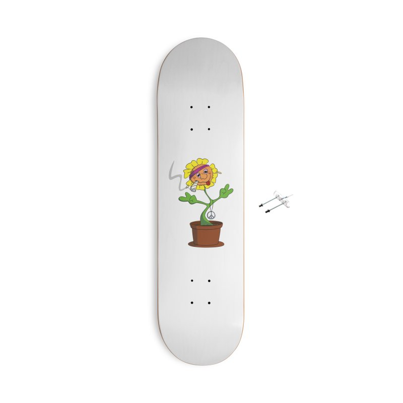 Weed Power to the Hippie Flower Accessories With Hanging Hardware Skateboard by Illustrated Madness