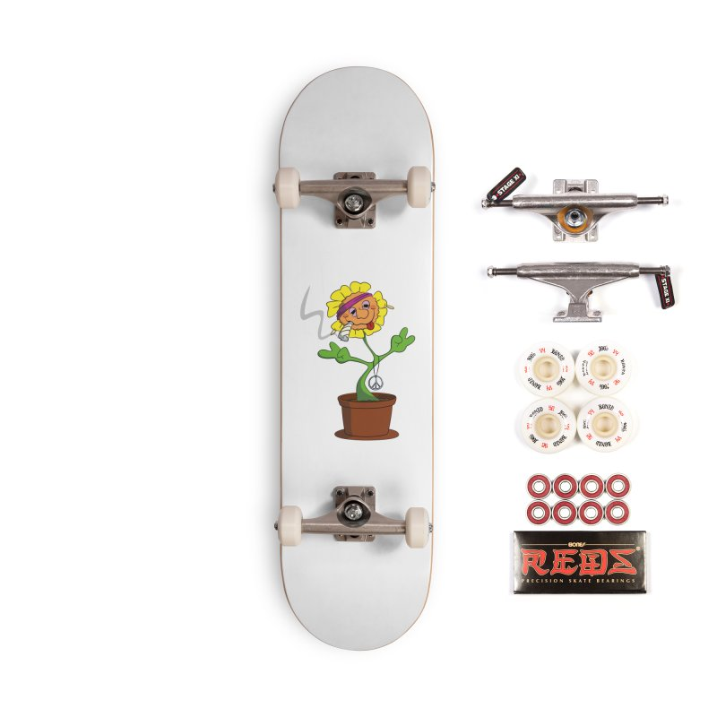 Weed Power to the Hippie Flower Accessories Complete - Pro Skateboard by Illustrated Madness