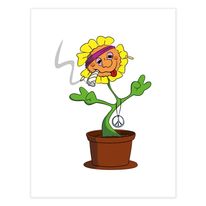 Weed Power to the Hippie Flower Home Fine Art Print by Illustrated Madness