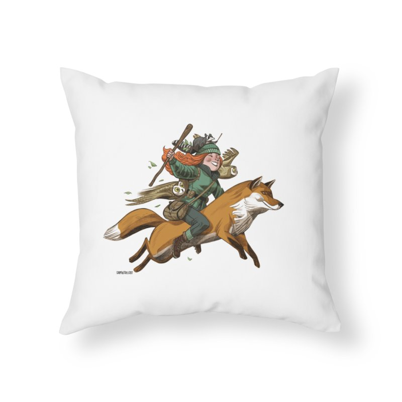 The Fox Home Throw Pillow by Illustrationsville!