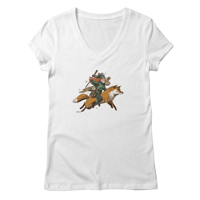 The Fox Women's Regular V-Neck by Illustrationsville!