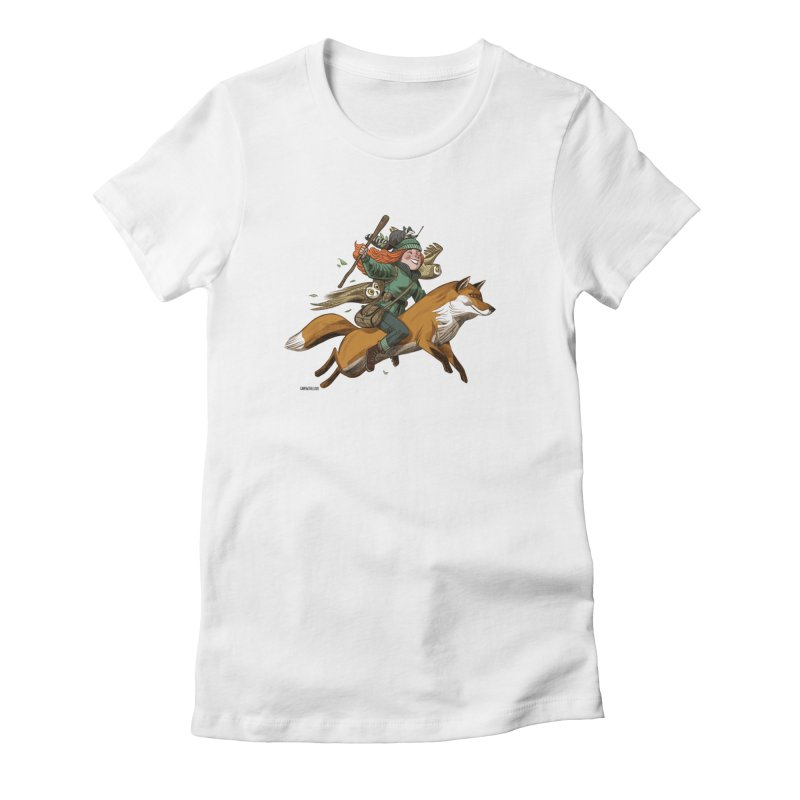 The Fox Women's Fitted T-Shirt by Illustrationsville!
