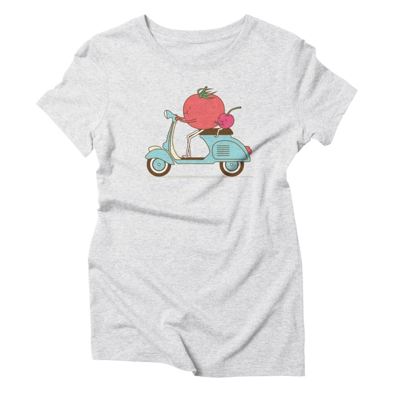 Cherry Tomato in Women's Triblend T-Shirt Heather White by ilovedoodle's Artist Shop
