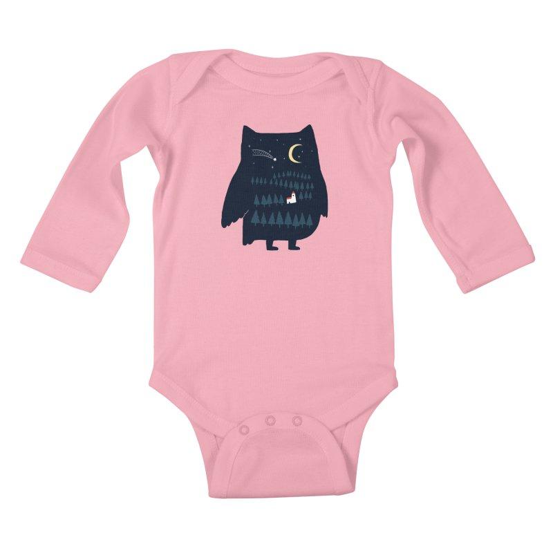 Night Owl Kids Baby Longsleeve Bodysuit by ilovedoodle's Artist Shop